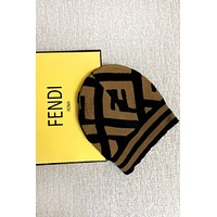 Fendi Tide brand wool knit hat Brown