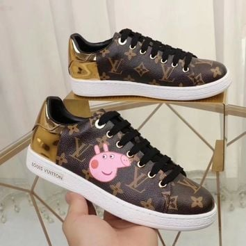 LV x Peppa Pig co-branded new tide brand low to help women's fashion full printed logo sneakers coffee