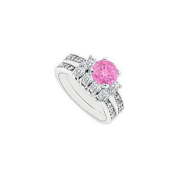 14K White Gold Pink Sapphire & Diamond Engagement Ring with Wedding Band Sets 1.50 CT TGW