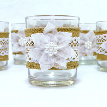 Candle Holder Rustic Wedding, Bridal Shower Shabby Chic Burlap and Lace White Organza Flower with Pearls Set of 8