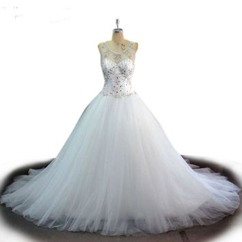 White wedding dress see through wedding dress crystal beading wedding gowns robe