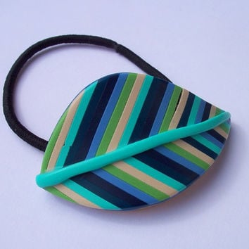 Polymer Clay Ponytail Holder, leaf shaped hair tie, blue green