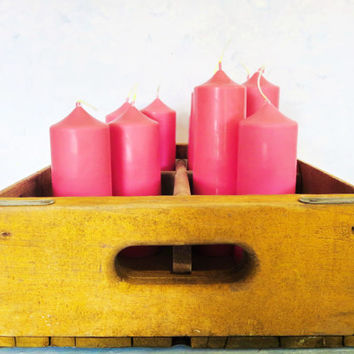 Bright pink soy pillar candles, unscented pillar candles, eco-friendly pink wedding candles, ready to ship pink party candles