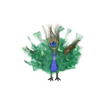 "7"" Colorful Green Regal Peacock Bird with Open Tail Feathers Christmas Decoration"