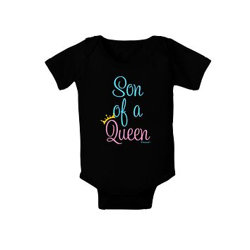 Son of a Queen - Matching Mom and Son Design Baby Bodysuit Dark by TooLoud