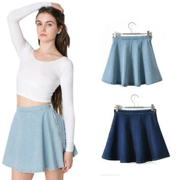 Women Mini Blue Denim Jeans Skirts Summer Fall Skirt High Waist Skater Circle Vintage Retro Short Dance Skirts Korean 2015 = 5613068097