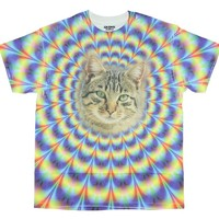 Mesmerizing Malkin Psychedelic Kitty Cat Graphic T-Shirt - Small