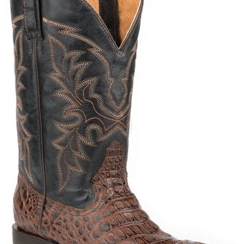 Roper Mens Faux Exotic On Leather Sq Toe Boots Caiman Belly