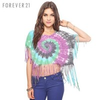 Cotton T -shirts whirlpool printing and dyeing tassels Cotton T-Shirt | fashion4us
