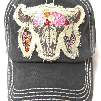Floral Cow Skull Baseball Hat in Charcoal