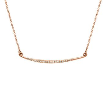 1/8 Ctw Diamond Curved Bar Necklace in 14k Rose Gold, 16 Inch