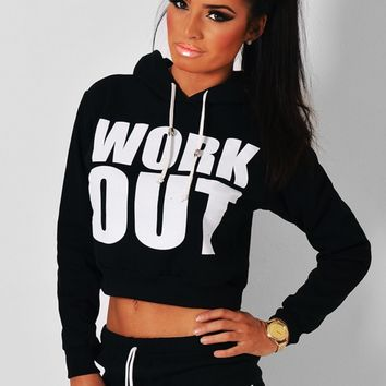Fired Up Black 'Work Out' Print Hoody | Pink Boutique