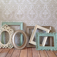 Distressed PICTURE FRAMES - Set of 6 - seafoam - shabby chic wedding - nursery - w/ Glass N Backing