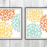 Print Duo - Set of 2 8x10 Prints - Modern Floral Home Decor - Kitchen, Bathroom, Bedroom, more colors