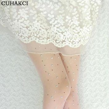 2017 New Arrival Summer Candy Color Sparkling Rhinestone Pantyhose Core-Spun Yarn Sexy Tights Women Fashion Tight Pantyhose