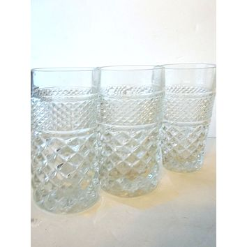 Libbey Pressed Glass Rocks, Old Fashion Glasses