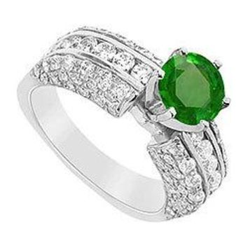 Emerald and Diamond Engagement Ring : 14K White Gold - 3.25 CT TGW