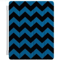 CUSTOM Smart Cover (Magnetic Front Cover / Stand) for Apple iPad 2 / 3 / 4 - Black Blue Chevron Stripes