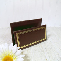 Vintage Dark Brown Leatherette Letter Bin with Gold Tooling - Retro C. R. Gibson Desk Organizer or Display Stand - BoHo Office Papers Holder