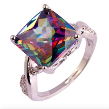 Rainbow Facets Silver Bling Ring