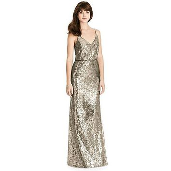 After Six by Dessy 6784 Floor Length Sequin Bridesmaid Dress