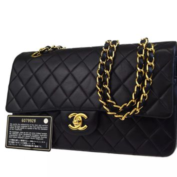 CHANEL BLACK QUILTED 2.55 LAMBSKIN VINTAGE MEDIUM CLASSIC DOUBLE FLAP BAG GHW A8