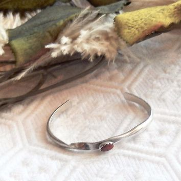 Vintage Native American Sterling Silver Coral Child/Baby Cuff Bracelet