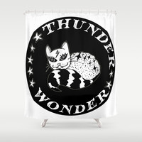 Wonder Thunder Cat Shower Curtain by Shashira Handmaker