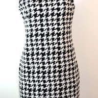 Eyeshadow Houndstooth Bodycon Dress White/Black