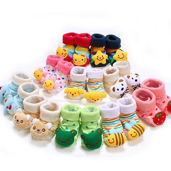 Lovely Cute Cartoon Animal Doll Infant Socks Newborn Baby Socks 24 Style Model Anti-slip Toddler Boys And Girls Socks 14-203