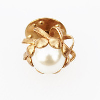 Vintage Man's Gold and Pearl Tie Tack, Fathers Day, Groom, Vintage Wedding, Groomsman