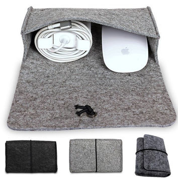 Fashion Wool Felt Laptop Storage bag For Macbook Mouse Charger USB Cable Power Bag Sleeve For Macbook Air 13 Pro 15 Retina 11 12