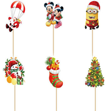 Fast shipping 96pcs christmas Cupcake Toppers Picks christmas decorations for home cake merry christmas christmas gifts