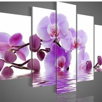 Hand-painted Free Shipping Wood Framed Purple Flowers Water Side Home Decoration Abstract Landscape Oil Painting on Canvas 5pcs/set