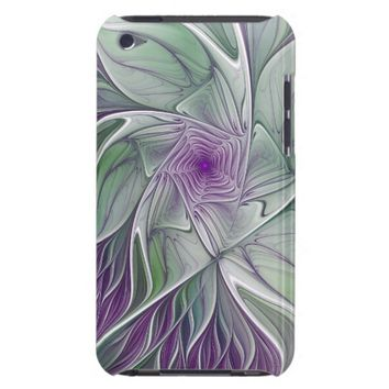 Flower Dream, Abstract Purple Green Fractal Art iPod Case-Mate Case