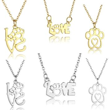 Fashion Love Heart Pendant Dog Cat Paw Print Silver Gold Necklace Jewelry Chain Necklace For Women Men Pet Lover Gifts Presents