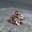 Cherry Blossom Branch Adjustable Ring, Spring Jewelry, Plum Blossom, 1 ring  MADE to ORDER, Twig Ring, Branch Ring, POINTED petals