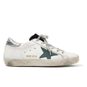 ESBONQK GOLDEN GOOSE DELUXE BRAND Super Star distressed suede-paneled leather sneakers