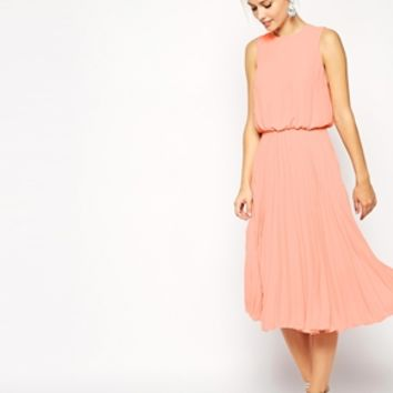 ASOS Midi Skater Dress with Pleated Skirt and Blouson Top at asos.com