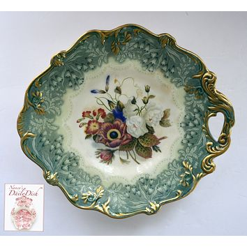 Antique Pratt Teal Transferware Footed Compote Tray Country French Botanical Floral Bouquet Peonies Cornflower Phlox Hand Painted