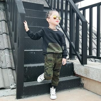 Active Style Winter Camouflage Boy Girl Clothing Sets Long Sleeve T-Shirt+Pant 2Pcs Kids Suits  Kids Clothes Sport Autumn Casual