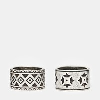 ASOS Aztec Ring Pack In Silver