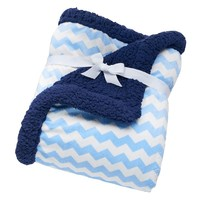 Just Born Chevron Velboa Blanket (Blue)