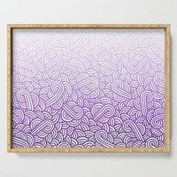Gradient purple and white swirls doodles Serving Tray by savousepate