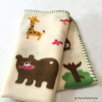 Soft Fleece Forest Animals Unisex Cream Baby Blanket. Infants Stroller Blanket. Baby Shower Gift