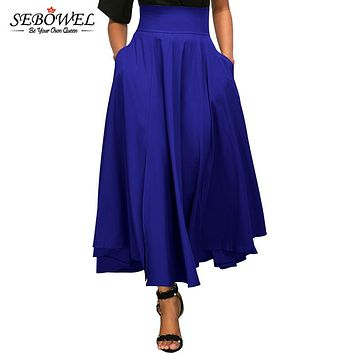 SEBOWEL 2017 Autumn Winter Women Skirt vintage Retro Plus Size High Waist Pleated Belted Long Maxi Skirt Back Bow Tie S-XXL