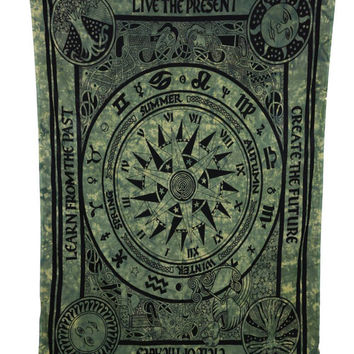 Indian Mandalian Hippie Green Cycle of life screen printed tie-dye wall hanging tapestry