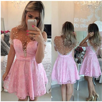 2017 Short Pink Homecoming Dress for Homecoming