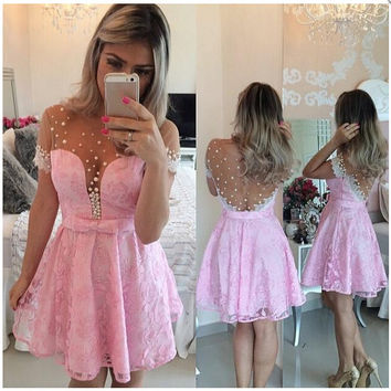 2016 Short Pink Homecoming Dress for Homecoming