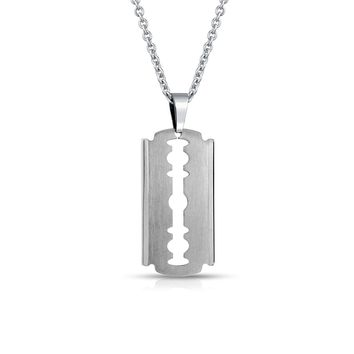 Razor Blade Necklace- Silver